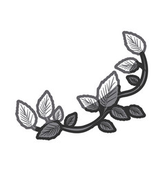 Grayscale silhouette of creeper plant vector