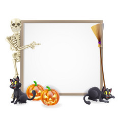 halloween skeleton sign vector image