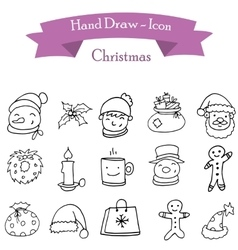 Hand draw of christmas icons vector