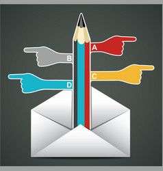 Hand with pencil pointed come out in envelop vector