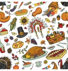 hanksgiving day doodle seamless patternColorful vector image