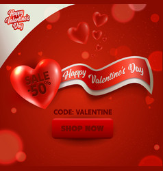 Happy valentine day sale promotion banner discount vector