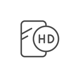 Hd glass screen protector line outline icon vector