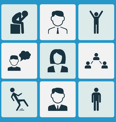 human icons set with falling human businessman vector image