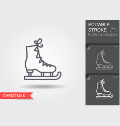 ice figure skate line icon with editable stroke vector image