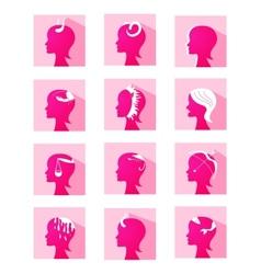 Icons zodiac female profiles vector