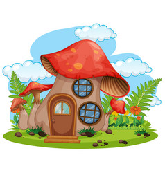 Isolated fantasy mushroom house vector