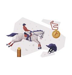 jockey jumping on racing horse equestrian sport vector image