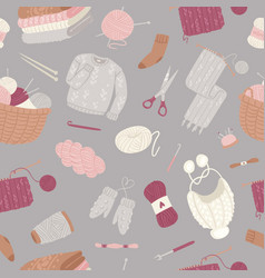 knitting and knitwear seamless pattern vector image