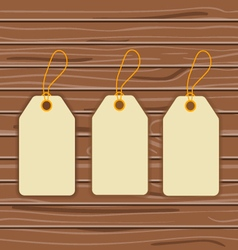 Labels on a wooden background vector image