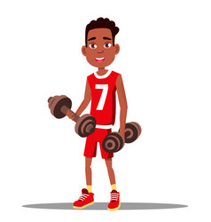 little boy is exercising with a dumbbell in his vector image