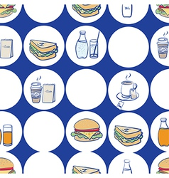 Lunch breakfast and fast food seamless pattern vector image vector image