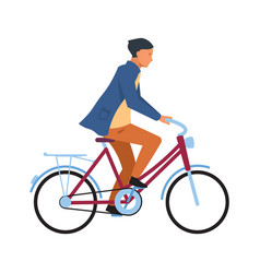 man riding on bicycle cyclist guy in casual vector image