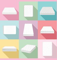 Mattress squab bedding icons set flat style vector