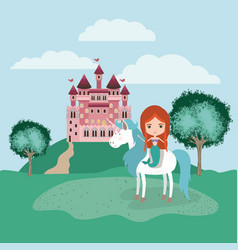 Mermaid with unicorn in the camp and castle vector