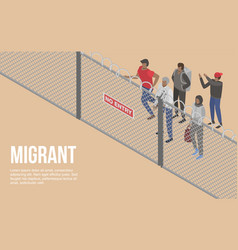 Migrant people at border country concept vector