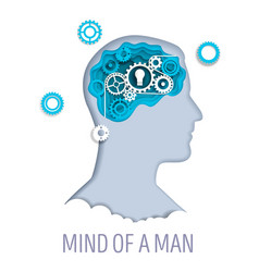 Mind a man in paper art vector