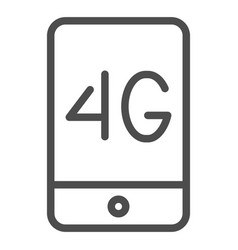 Mobile phone with 4g line icon 4g smartphone vector