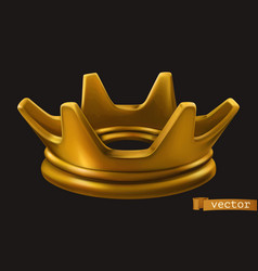 old golden crown 3d icon vector image