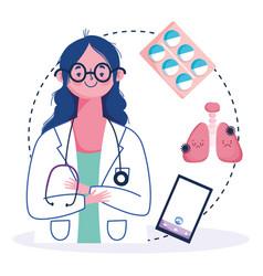 Online health female doctor smartphone pneumonia vector