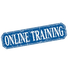 Online training blue square vintage grunge vector