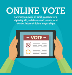 online vote on tablet concept banner flat style vector image