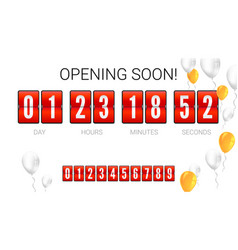opening soon analog flip clock timer card with vector image