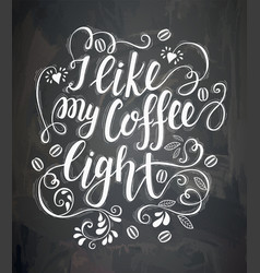 poster with inscription about coffee drinks vector image