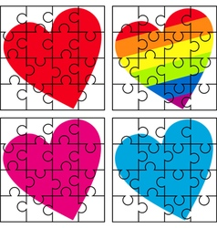 Puzzle with a variety of hearts vector