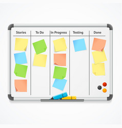 Realistic 3d detailed kanban board with color vector