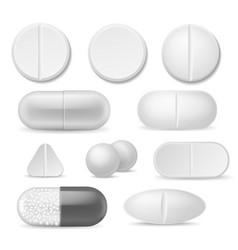 Realistic pills white medicine tablets vector