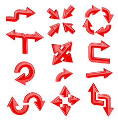 red 3d arrows set of different shiny web signs vector image