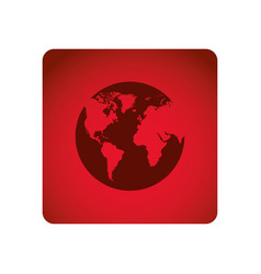 red square frame with map of the world vector image