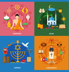 Religions icon set vector