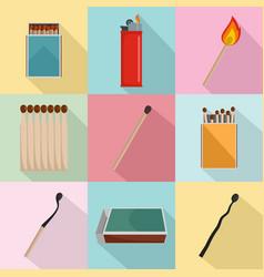 safety match ignite burn icons set flat style vector image
