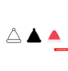 santa claus hat icon 3 types isolated vector image