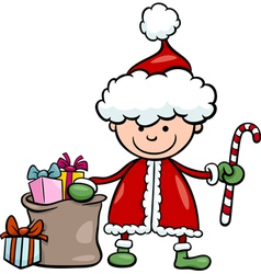 santa claus kid cartoon vector image