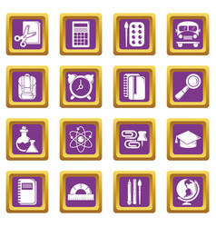 school education icons set purple square vector image