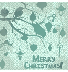 scrapbooking christmas card with birds vector image