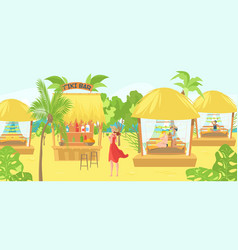 sea bungalows for tourists and vacationers people vector image