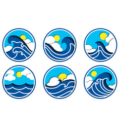 sea icon set in paper cut vector image