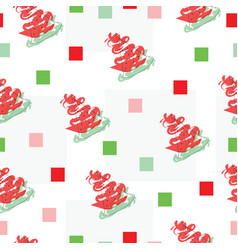 seamless pattern with watermelon fruit and squares vector image