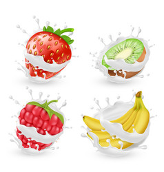 Set of fruits and berries in milk splashes vector