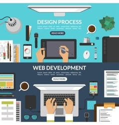 Set of web design and development process banners vector