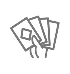 Simple game cards in hand line icon symbol and vector