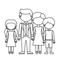 sketch silhouette faceless family group in elegant vector image