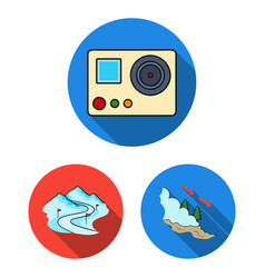 ski resort and equipment flat icons in set vector image