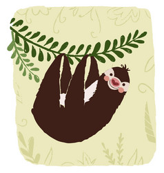 sloth in jungle vector image