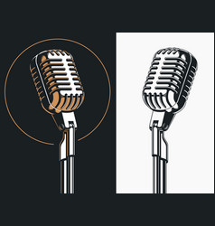 Standing singer microphone drawing vector