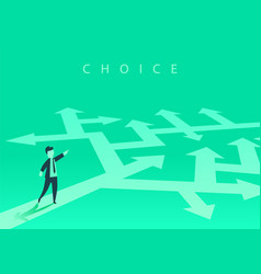 the concept choosing way business and a vector image
